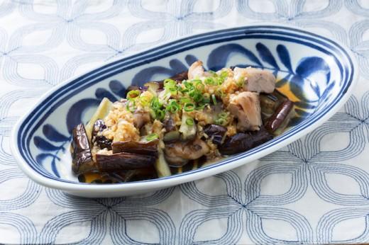 鶏の炭火焼と茄子のさっぱりネギソース